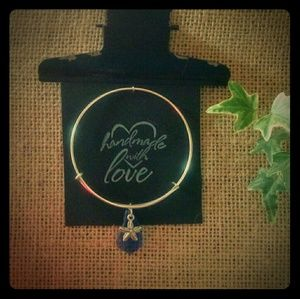 Jewelry - Women's Blue Beach Glass Bangle Bracelet